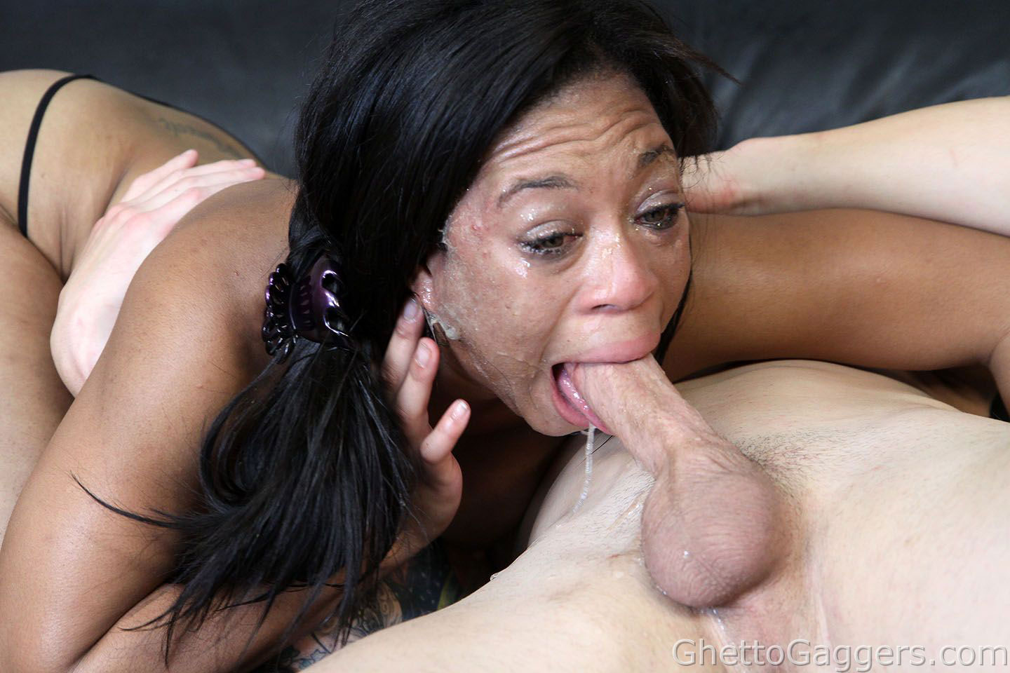 Black ghetto slut sha dynasty getting rough face fucking